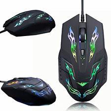 LED Light Wired 2400DPI Optical Usb Ergonomic Pro Gamer Gaming Mouse Mice R6