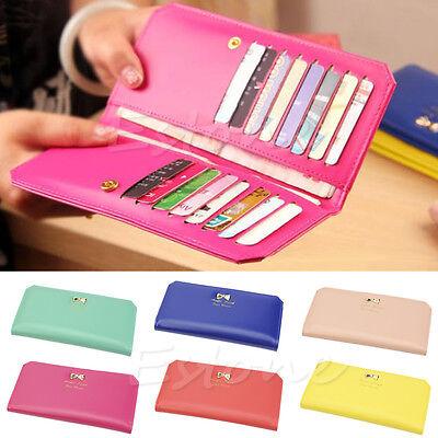 Fashion Women's PU Leather Bowknot Clutch Wallet Long Card Holder Purse Handbag
