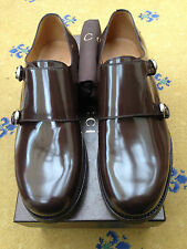 New Gucci Mens Shoes Brown Leather Loafer UK 10.5 US 11.5 44+ Monk Buckle 386543