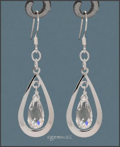 925 Silver Pear Drop Dangle Earring w//CZ Clear #65267