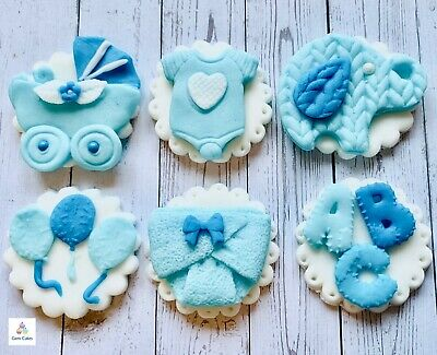 6 Edible Baby Boy Blue Cupcake Cake Toppers Decorations Christening Baby Shower Ebay
