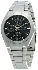 CASIO MTP1191A-1A Mens Analog Multi Function 3- Dial Stainless Steel Watch NEW
