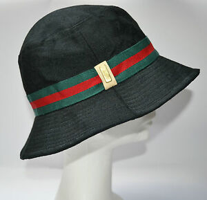 gucci unisex bucket hat designer black red green size s small 21 good cond auth ebay. Black Bedroom Furniture Sets. Home Design Ideas