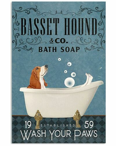 Basset Hound Dog And Bathtub Poster Gift For Family /& Friend For Bathroom