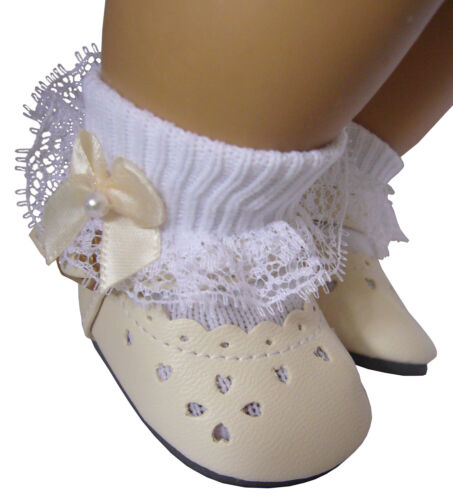 Cream Dress Shoes /& Lace Socks with Satin Bows for Bitty Baby Doll Clothes