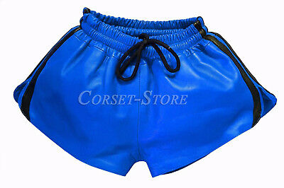 Blue and Black Leather Shorts with Elastic Band Napa Leather Sports Style Shorts