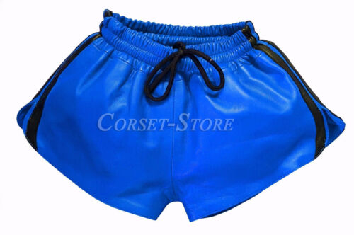 Leather Shorts with Elastic Band Napa Leather Sports Style Shorts Blue and Black