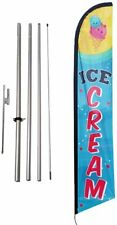 Ice Cream Advertising Feather Banner Swooper Flag Sign With Flag Pole Kit And