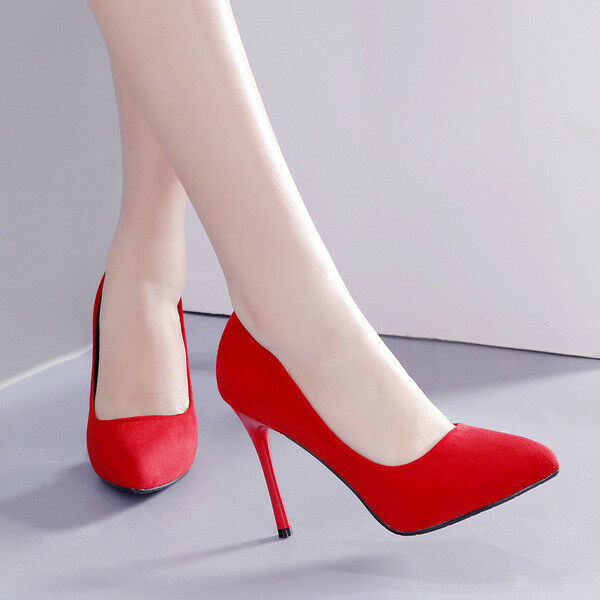 Schuhe comodi decolte eleganti stiletto 10 rosso scamosciato comodi Schuhe simil pelle 1581 6416dc