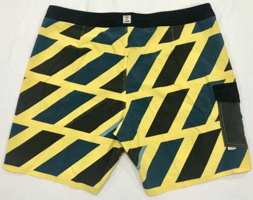 ONEILL MENS BOARDSHORTS HASHTAG SWIM TRUNK SWIMSUIT YELLOW BLUE*NEW*SIZE 38