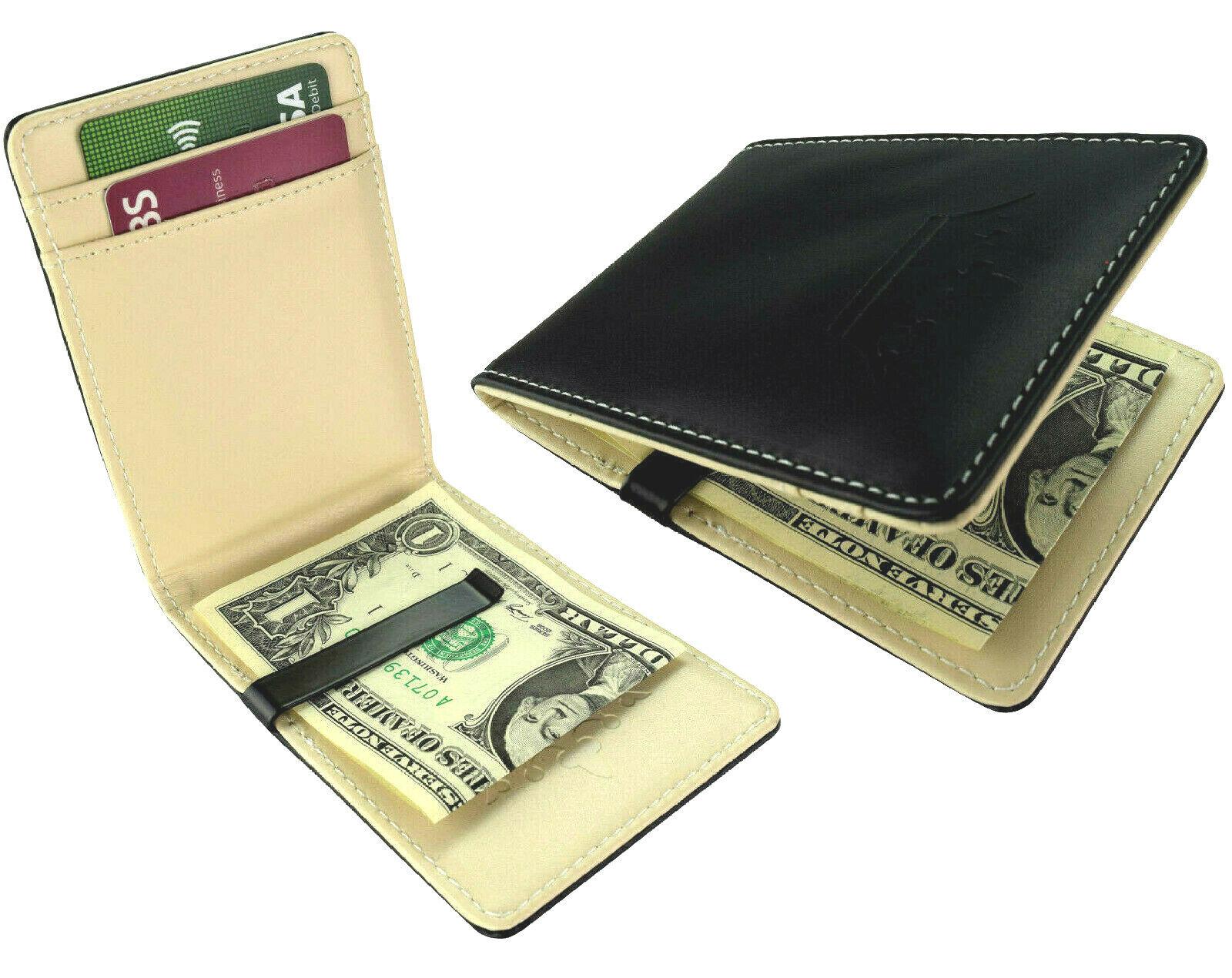 NEW Black Steel Clip UK Wallet Faux Leather Money Bifold ID Card Slots Holder