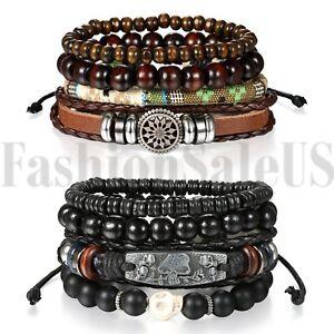 2-Sets-8pcs-Black-Skull-Leather-Men-Women-Tribal-Beaded-Cuff-Wristband-Bracelet