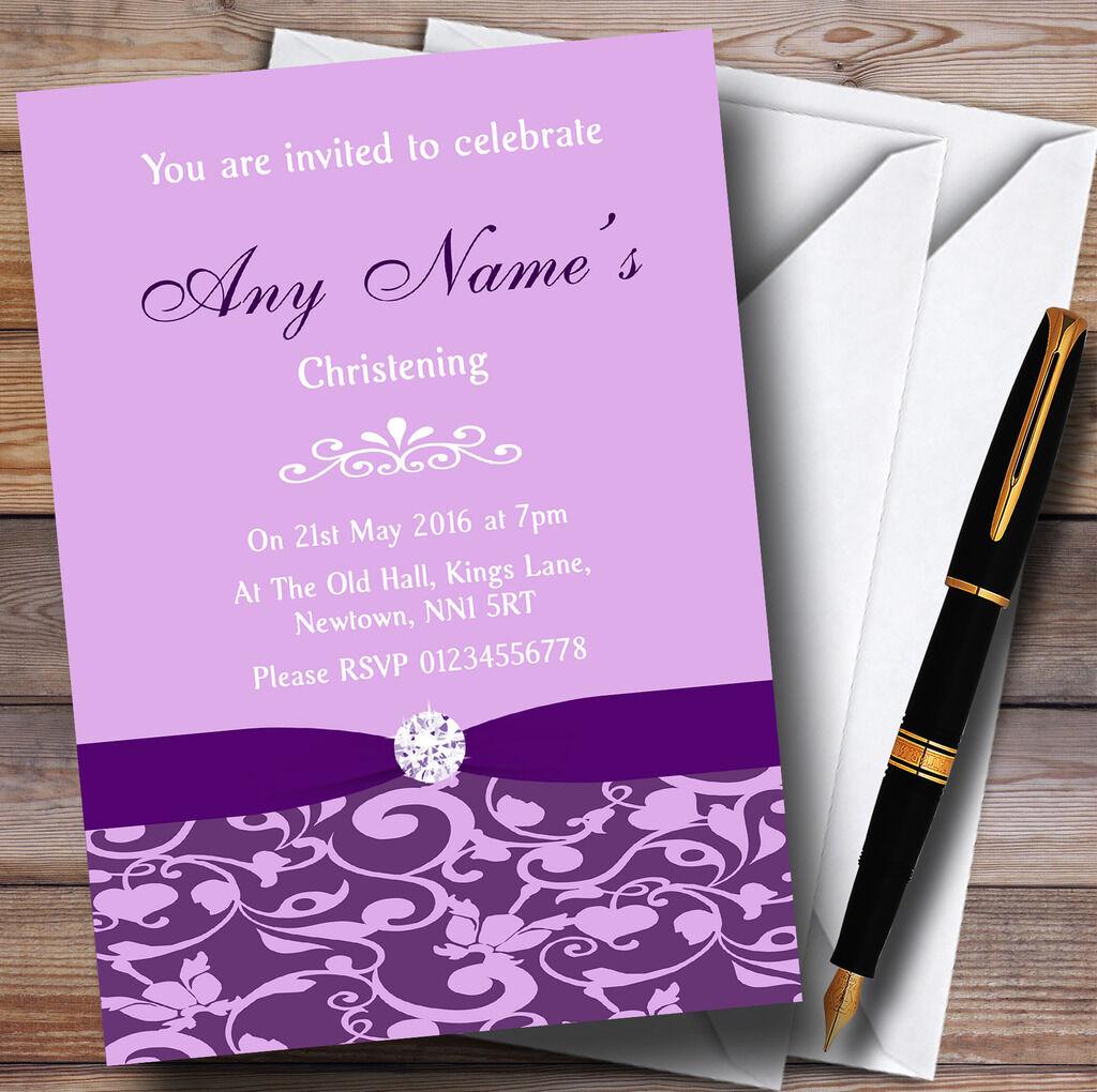 Cadbury púrpura Floral Diamante Personalizados Bautizo Invitaciones