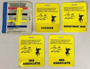 Lot-of-5-Walmart-Employee-Backers-for-Name-Badge-Tag-Cashier-Manager-IMS
