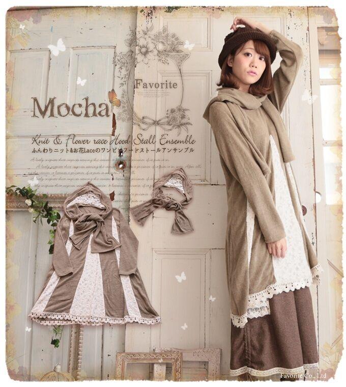 New Loose Vintage Japanese Mori Girls Lolita Sweet Cool Hooded Lace Dress