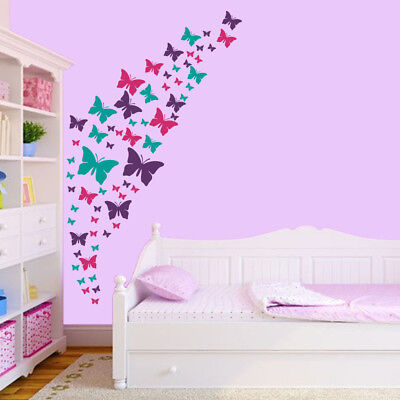 butterfly wall decals- purple, pink & turquoise set. diy room