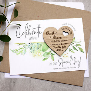 9a97109ebf03b Details about Wooden Save The Date Cards Foliage Wedding Magnets  Personalised Wood Heart