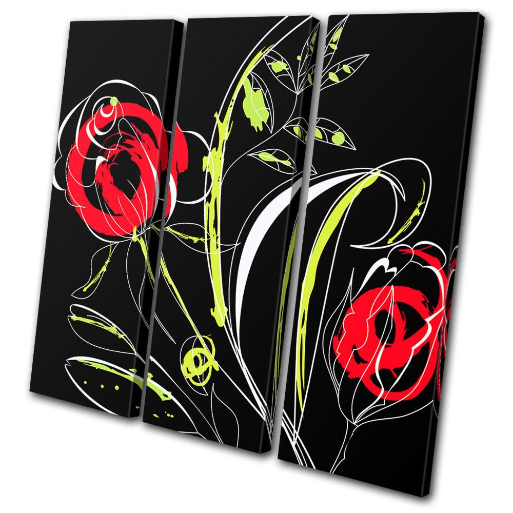 Illustration Illustration Illustration Floral Abstract TREBLE TELA parete arte foto stampa 60d956