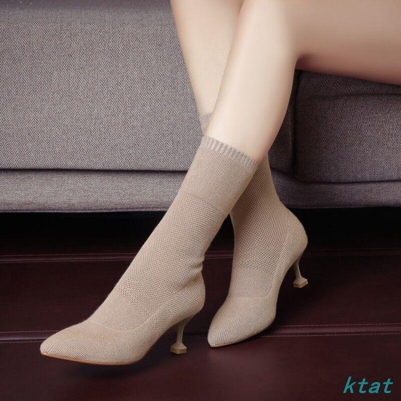 Donna Donna Donna Sock Stivali Ankle Med Heels Pointy Toe Party