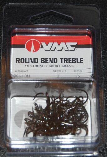 VMC 9651 Short Shank Treble Hooks Size 3 Pack of 25 9651BN-03 Black Nickel