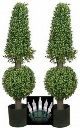 2 ARTIFICIAL 38  BOXWOOD OUTDOOR UV TOPIARY TREE CHRISTMAS LIGHTS CONE BALL 3 4