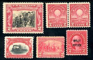 USAstamps-Unused-FVF-US-2-Cents-Red-Group-Sctt-329-647-651-654-OG-MNH-295-MNG