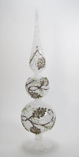 """16/"""" Pine Cone /& Evergreen Detail Glass Finial Tabletop Holiday Winter Decor"""