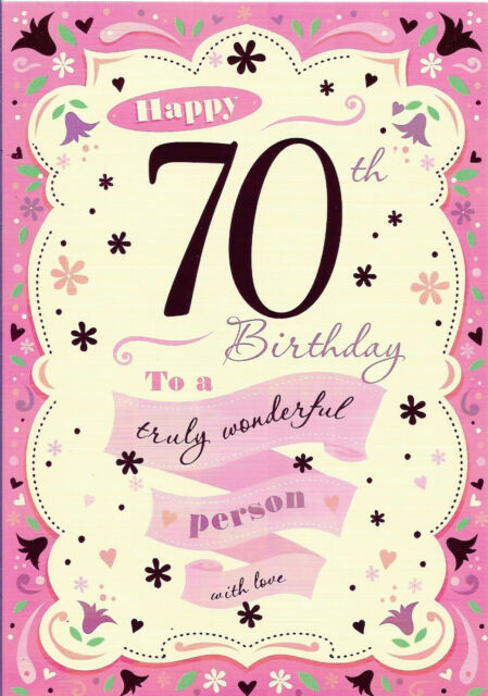 "Happy 70th BIRTHDAY FEMALE GREETING CARD 7"" BY 5"" FREE P+P"