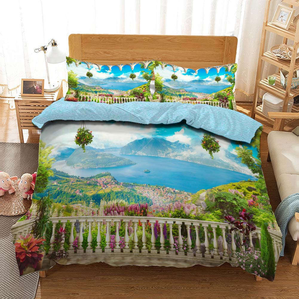 Many Rivers Flower 3D Printing Duvet Quilt Doona Covers Pillow Case Bedding Sets