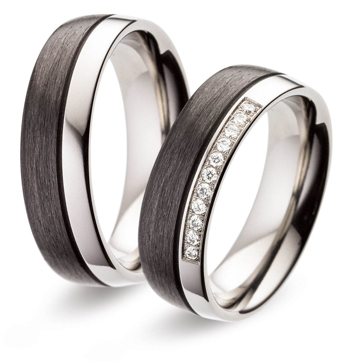 Titanfactory Titan Wedding rings with TF124 Carbon 11 Brill. set 0.11 ct. w si