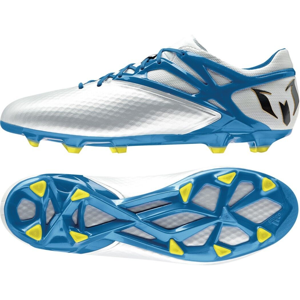 Adidas messi 15.1 FG AG botas de fútbol blancoo azul negro [b34359]
