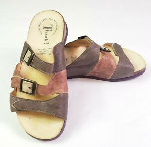Think-Mizzi-3-Purple-Leather-Strap-Sandals-Buckles-80759-Womens-Size-36-Summer