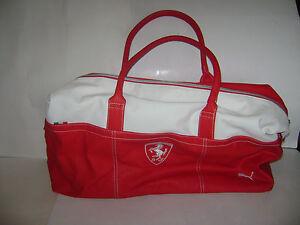 FERRARI FORMULA 1 CLUB PUMA BAG RED WHITE DUFFLE GYM BAG EUC  0f03746f04323