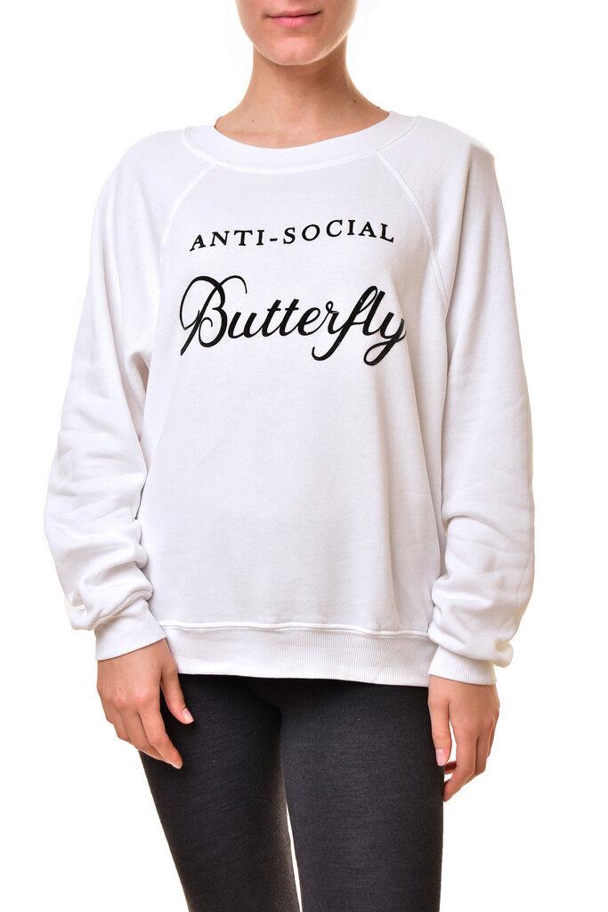 Wildfox Woherren Anti-Social Butterfly WFL54296U Sweater Weiß L