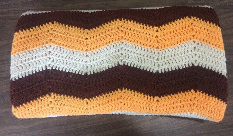 Crocheted Throw Blanket Afghan Quilt Vintage 45  x 75  White Brown orange