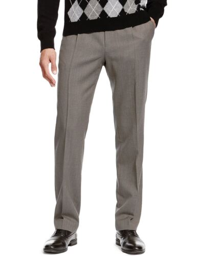 Mens Trousers Washable Wool Blend Formal Pleated With Active Waistband