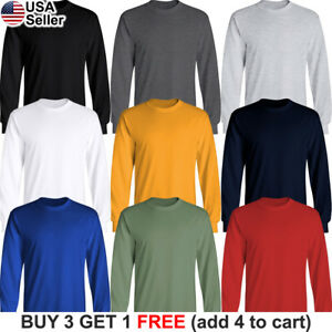Basic Cotton T Shirt Long Sleeve Plain Crew Neck Solid Men Youth Blank Color Ebay
