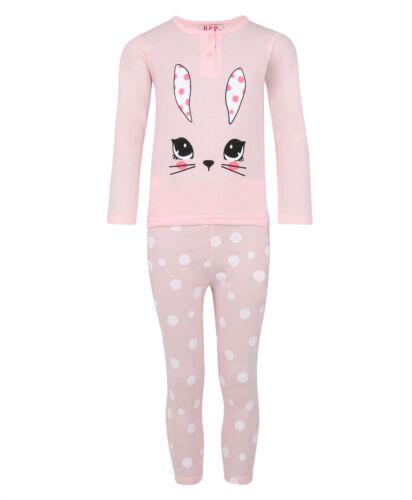 Le Ragazze Abbigliamento da notte Coniglio Pullover Pigiama Set Con Stampa Pantaloni Nightwear 3-14 anni