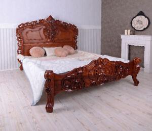Lit double antique style lit chambre a coucher bois d\'acajou avec ...