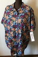Bechamel Ii Floral Short Sleeved Blouse 100% Cotton W/ Tags Size 3x