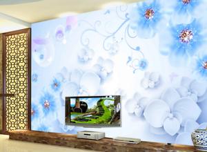 3D bluee Series Petal 8 Wall Paper Murals Wall Print Wall Wallpaper Mural AU Kyra
