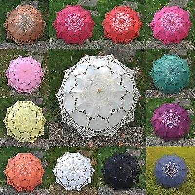 Battenburg Lace Cotton Embroidery Wedding Umbrella Bridal Parasol Photo Props