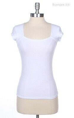 Square Neck Cap Sleeve Solid Raglan T Shirt Casual Top Cotton Span Stretch S M L