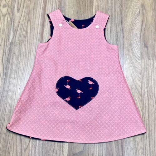 9 Years New Born Handmade Reversible girl's dress Pink Flamingos Size