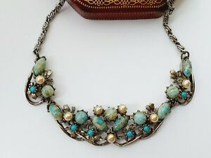 "Vintage 16""  Silver Tone Turquoise & Faux Pearl Necklace"