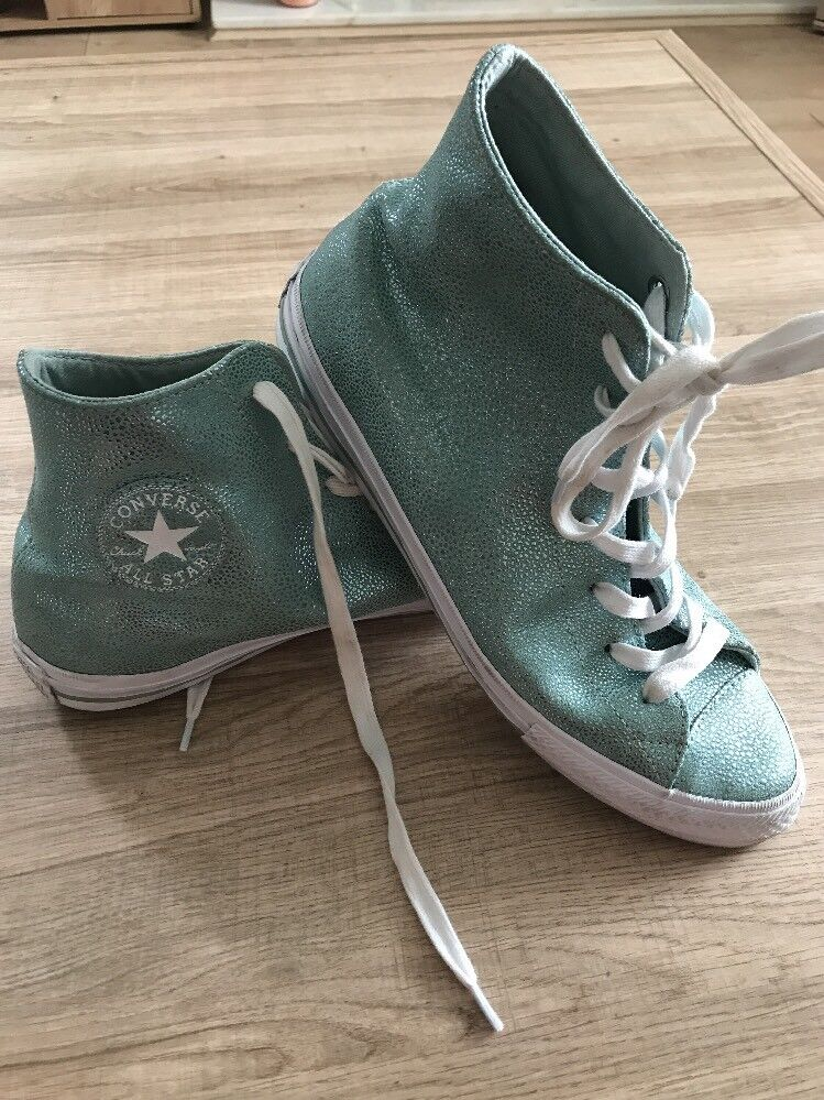 Converse Chuck Taylor Mermaid Pebble Metallic Leather High Top Trainers7.5