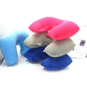 Soft-Inflatable-Travel-Pillow-Air-Cushion-Neck-Rest-U-Shaped-Compact-Flight-New