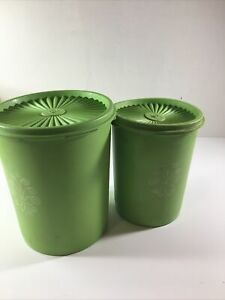 Vintage Lime Green Tupperware Nesting Canisters - Lot Of 2 809-3, 811-4