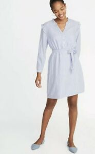 143ef4c8a30 OLD Navy WOMEN S Blue CHAMBRAY Tie BELT Ruffle STRIPED Shift DRESS ...