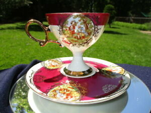 J-CUP-SAUCER-TALL-PEDESTAL-SHAFFORD-JAPAN-VICTORIAN-CAMEO-LOVE-STORY-SCENES